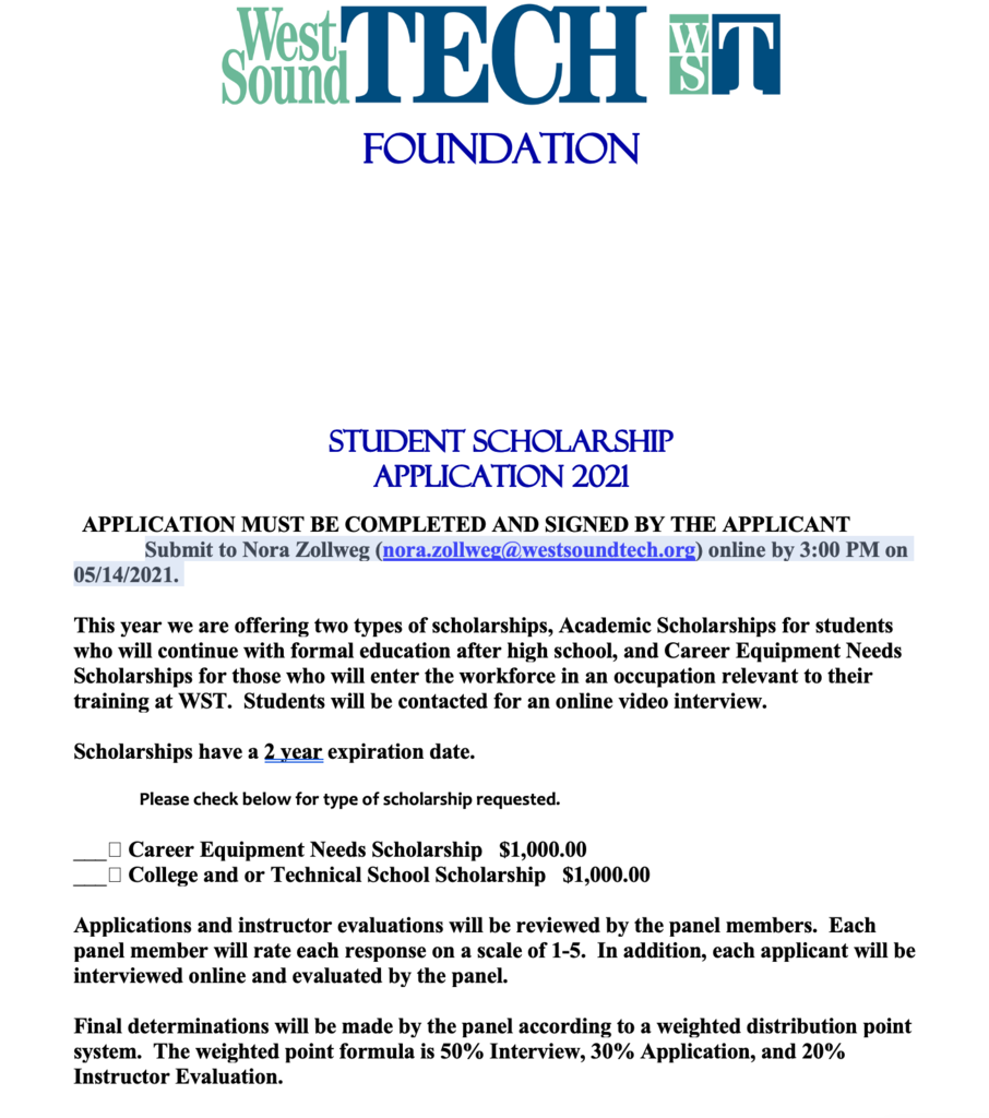 WST Foundation Scholarship Information